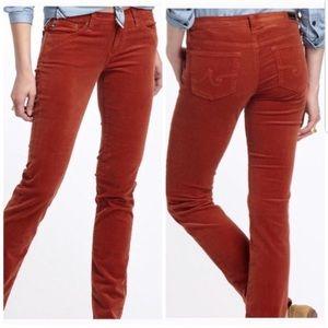 AG Stevie Slim Straight Corduroy Pants in Rust